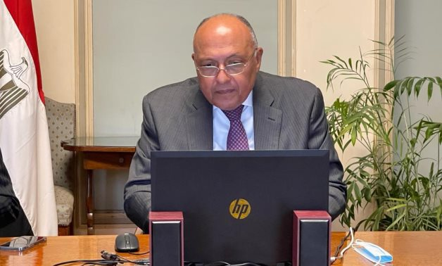 Minister of Foreign Affairs Sameh Shokry while participating in the extraordinary ministerial meeting convened by the Arab League on Jerusalem on May 11, 2021. Press Photo