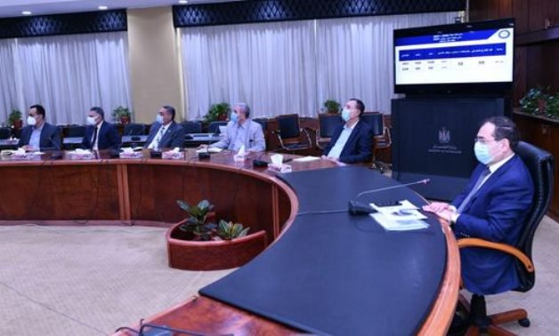 Minister of Petroleum and Mineral Resources Tarek al-Mulla in a meeting with officials on May 12, 2021. Press Photo