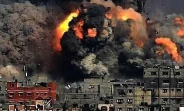 Israeli airstrikes against civilians in Gaza Strip- press photo from the Palestinian embassy in Cairo