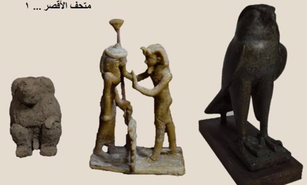 """File: 3 pieces in one image won, illustrating the stages of metal casting in ancient Egypt and showing the God """"Horus"""" made of bronze, God """"Maat"""" made of beeswax, and God """"Gahoty"""" made of clay."""