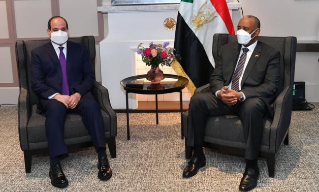 President Abdel Fatah al-Sisi and Chairman of the Sudanese Sovereign Council Abdel Fatah al-Burhan in a meeting in Paris on May 16, 2021. Press Photo