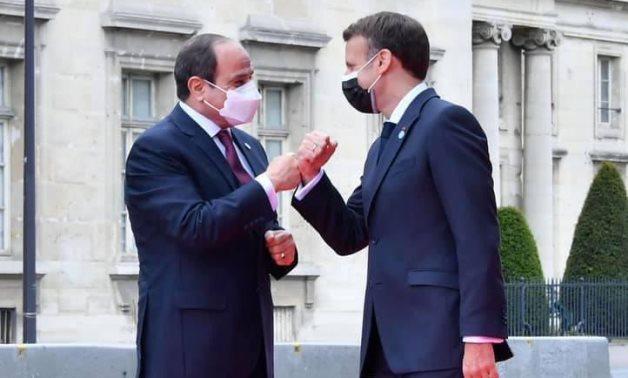 French President Emanuel Macron and Egyptian President Abdel Fatah al-Sisi in Paris on May 17, 2021. Press Photo