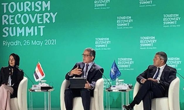 Egypt's Minister of Tourism & Antiquities Khaled el-Enany (M) during his participation in the Tourism Recovery Summit held in KSA - Min. of Tourism & Antiquities