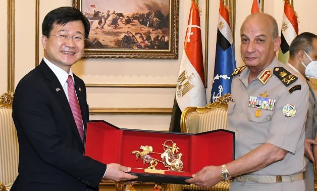 Minister of Defense and Military Production Mohamed Zaki (l) and Korean Minister of the Defense Acquisition Program Administration (DAPA) Kang Eun-ho in Cairo, Egypt on May 30, 2021. Press Photo