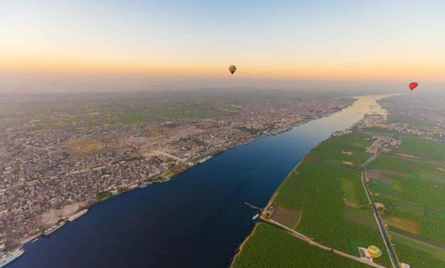 View from Hot-air balloon flying over Luxor