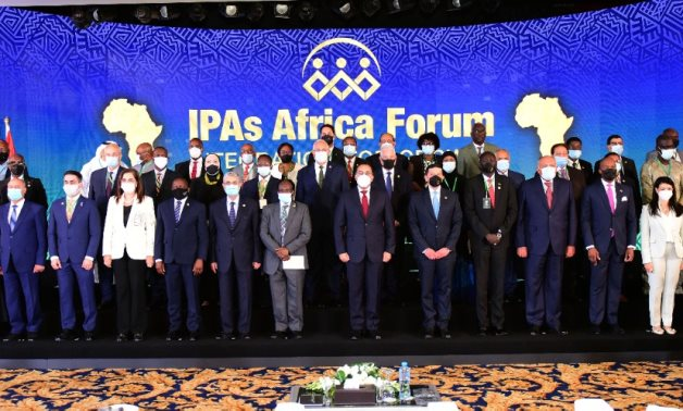 Egyptian Prime Minister Mostafa Madbouli, Egyptian and African ministers and investment officials posing in opening of IPAs Africa Forum held in Sharm El Sheikh on June 10, 2021. Press Photo