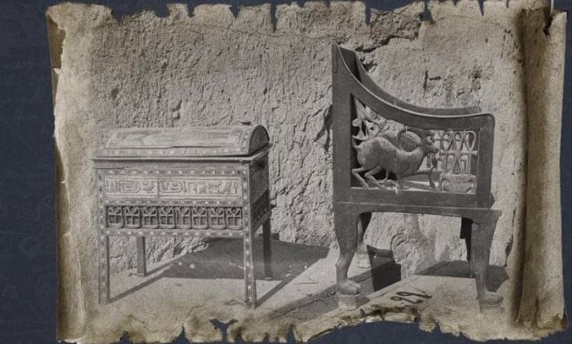 A rare photograph of a chair and a jewel casket belonging to Yuya and Thuya, photographed outside their tomb shortly after its discovery.