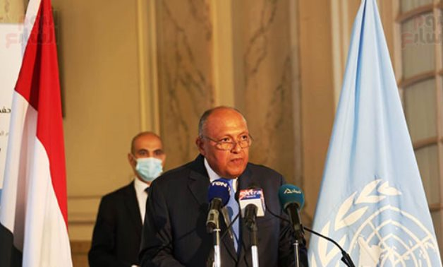Minister of Foreign Affairs Sameh Shokry in ceremony celebrating the International Day of the United Nations Peacekeepers in Cairo, Egypt on June 17, 2021. Egypt Today/Khaled Mashaal
