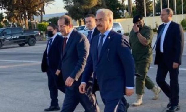Egyptian chief of the General Intelligence Services (GIS) Major General Abbas Kamel arrives in Libyan city of Benghazi to meets with Libyan National Army Khalifa Haftar on Thursday.- press photo