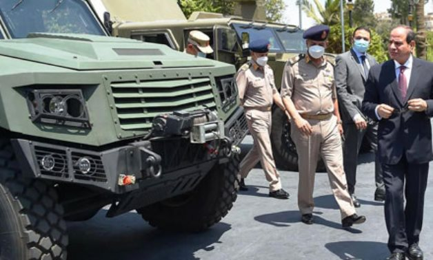 Sisi inspects armored vehicles made by the Egyptian Armed Forces on June 19, 2021 - Press photo