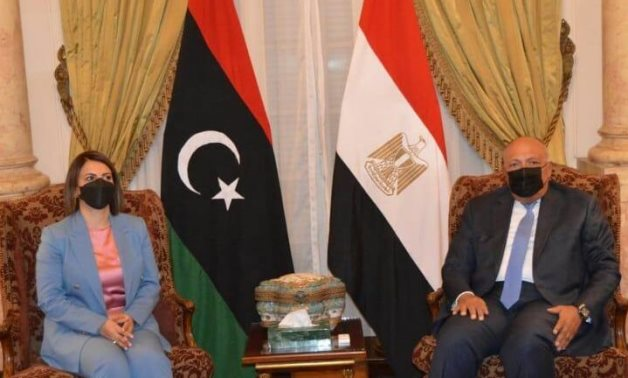 Egyptian Foreign Minister Sameh Shoukry and his Libyan counterpart Najla al-Mangoush in Cairo on June 19, 2021 - Press photo