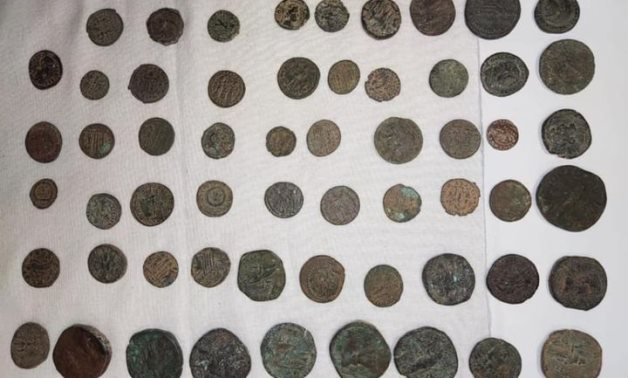 Some of the seized antique coins - Min. of Tourism & Antiquities