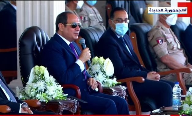 Egyptian President Abdel Fattah El-Sisi speaks before he checked on Wednesday vehicles and equipment used in development of villages included in the Haya Karima initiative - Screenshot