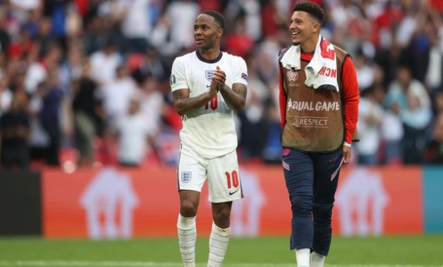 England's Raheem Sterling celebrates after the match, Reuters