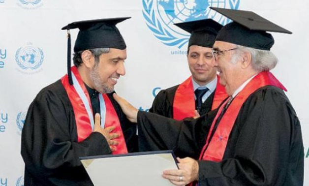 Leader of the Muslim World League Dr. Mohammad Al-Issa receives his honorary doctorate from the UN - SPA