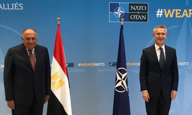 Minister of Foreign Affairs Sameh Shokry and NATO Secretary General Jens Stoltenberg in the organization's headquarters in the Belgium capital, Brussels on July 12, 2021. Press Photo