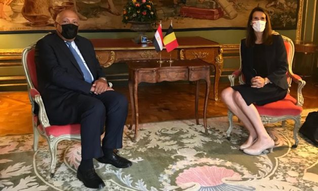 Minister of Foreign Affairs Sameh Shokry and his Belgium counterpart Sophie Wilmes in Brussels on July 13, 2021. Press Photo