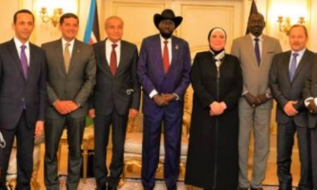 South Sudan President Salva Kiir, Nevine Gamea, Minister of Trade and Industry and Dr. Ali El Moselhi, Minister of Supply and Internal Trade