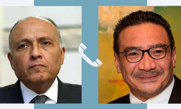 Egyptian Foreign Minister Sameh Shoukry and his Malaysian counterpart, Hishammuddin Hussein – Egyptian Foreign Ministry