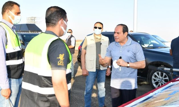President Abdel Fattah El-Sisi inspected development work of some roads and axes in the North Coast on Friday- press photo.