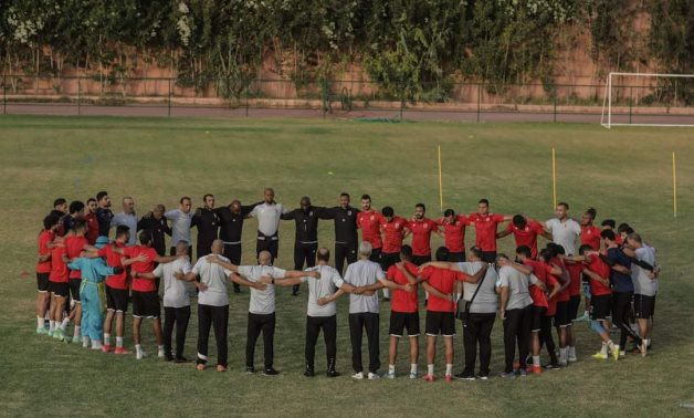 Al Ahly players during the pre-game training session in Casablanca