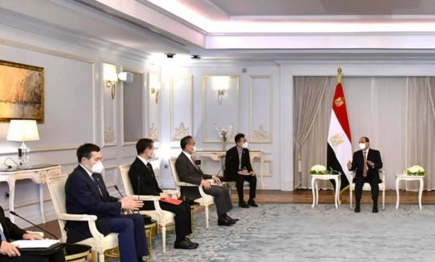 President Abdel Fattah El Sisi meets with Chinese Foreign Minister Wang YI and his high-level delegation on July 18, 2021 in Cairo- press photo