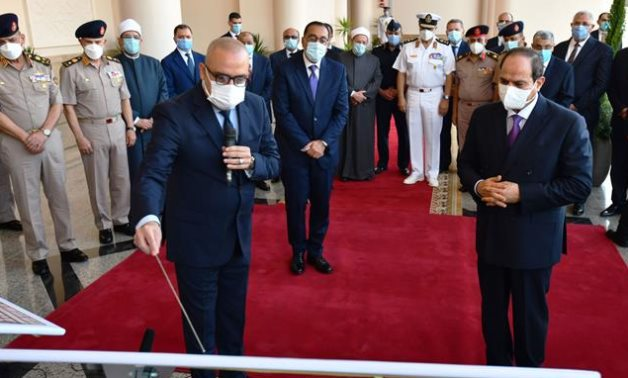 President Sisi listened to a detailed explanation from Minister of Housing Asem El-Gazzar about the construction of the City of Arts' in new Alamein- press photo