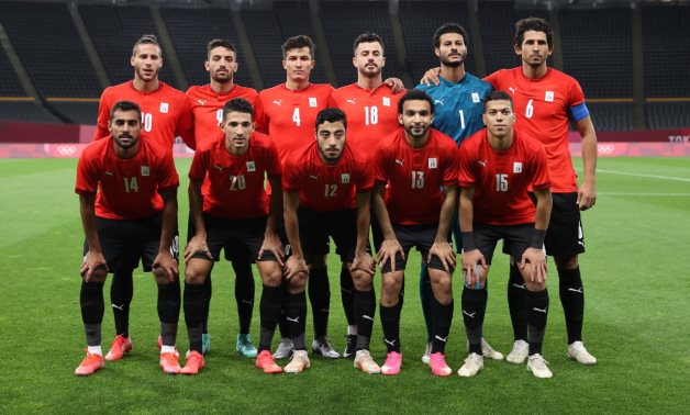 Egypt U-23 national team players pose before the game against Spain