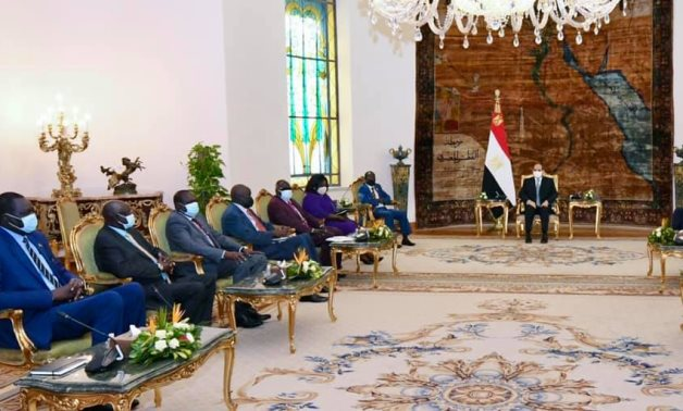 President Abdel Fattah al-Sisi with South Sudanese Vice President James Wani Igga and his delegation - Facebook page of the Egyptian presidential spokesperson