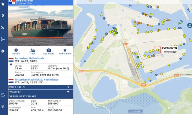 Vessel Finder shows the arrival of Ever Given at Rotterdam port- screenshot
