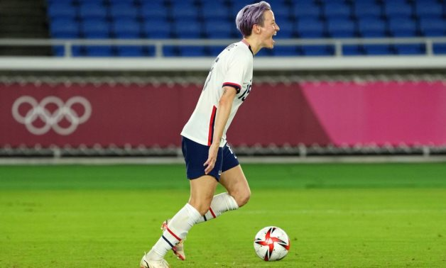 Team United States forward Megan Rapinoe (15) celebrates after their win against the Netherlands, Reuters