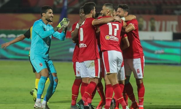 Al Ahly players celebrate victory over Wadi Degla, courtesy of Al Ahly official Facebook page