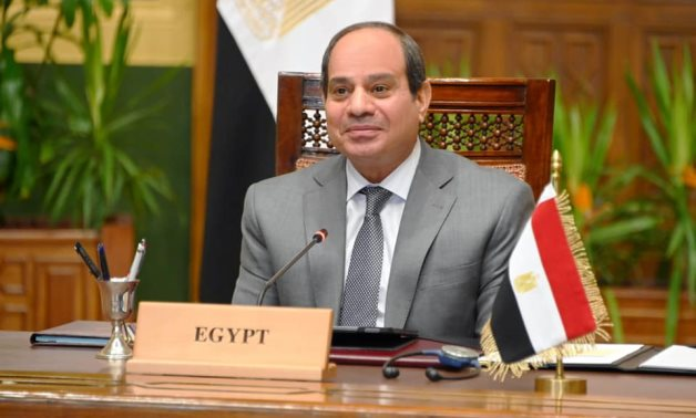 Egypt's President Abdel-Fattah El-Sisi speaks during the international conference to raise funds to support Lebanon's humanitarian needs – Presidency