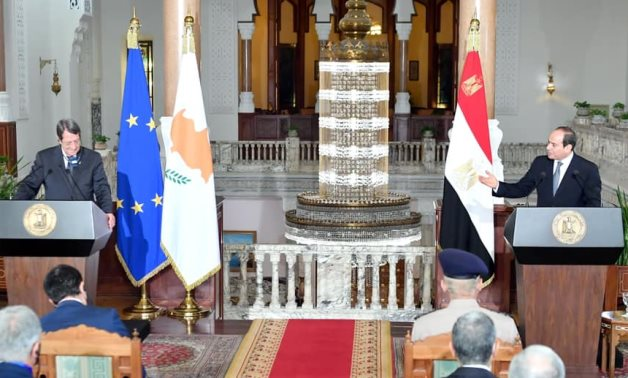 President Abdel Fattah el-Sisi and President Nicos Anastasiades in a press conference in Cairo Sept. 4, 2021 - Youtube still