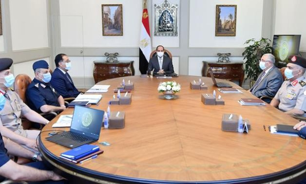 President Abdel Fattah El Sisi meets with Prime Minister Moustafa Madbouli, a number of concerned ministers and officials on September 2021, 2021- press photo