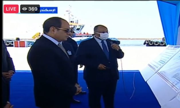 President Abdel Fatah al-Sisi attending a briefing in Alexandria on the ongoing work to develop the infrastructure and operation system at seaports. September 7, 2021. TV screenshot