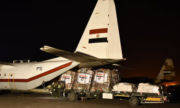 Humanitarian aid offered by Egypt to Sudan getting loaded on cargo aircraft on September 6, 2021. Press Photo