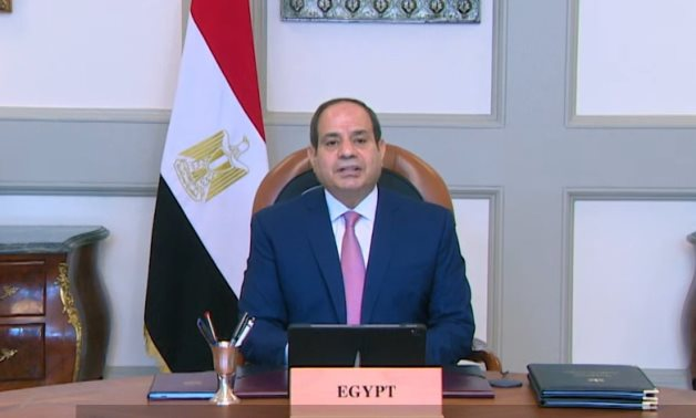 Egypt's President Abdel-Fattah El-Sisi delivers a speech during the first edition of Egypt's International Cooperation Forum (ICF) – Presidency/screenshot