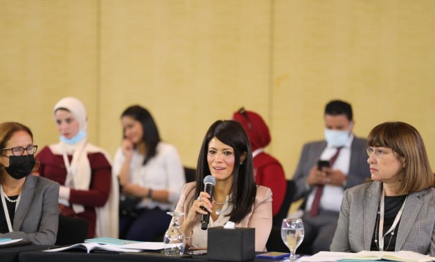 Minister of International Cooperation Rania Al-Mashat, during her speech at Egypt-ICF