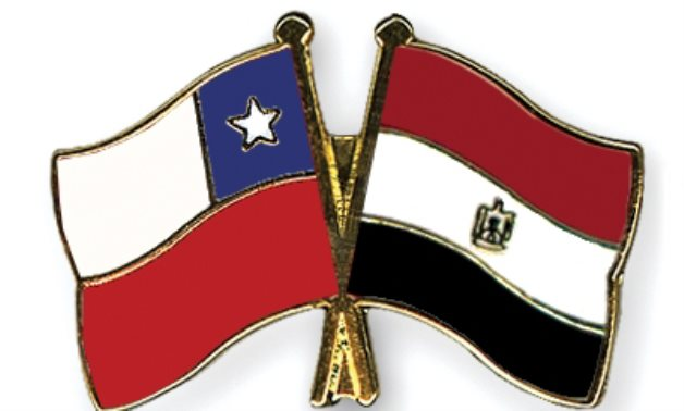 Egyptian - Chilean Flags - Crossed Flags Pin