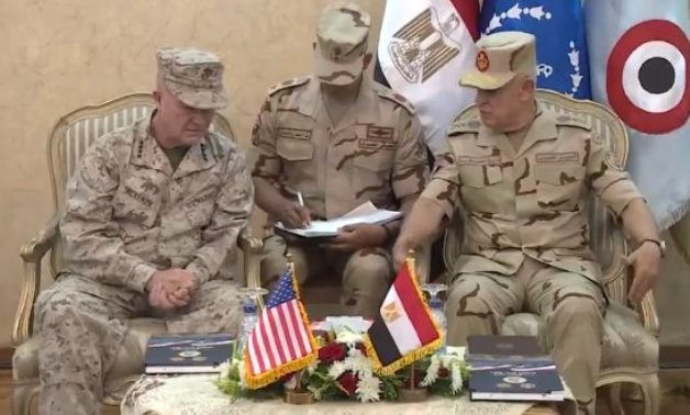 """Chief of Staff Mohamed Farid and Commander of the U.S. Central Command (Centcom) Kenneth Mckenzie meeting in Egypt on September 12, 2021on the sidelines of """"Bright Star 2021"""" exercises. Press Photo"""