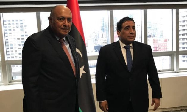 Egypt's Foreign Minister Sameh Shoukry (L) meets with President of the Libyan Presidential Council Mohamed Al-Menfi – Egyptian Foreign Ministry