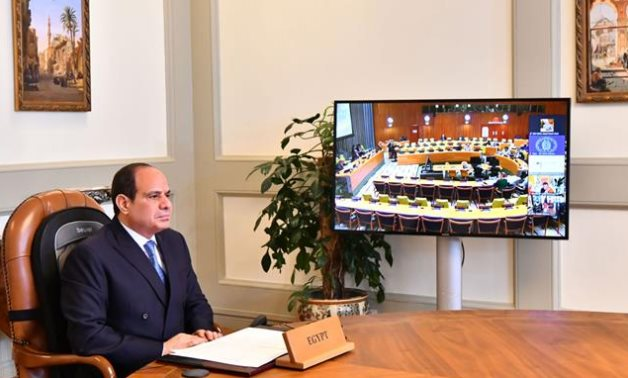 President Abdel Fattah attend the virtual meeting of the Heads of State and Government on Climate Change on slides of the 76th session ofthe UN General Assembly(UNGA76)- press photo