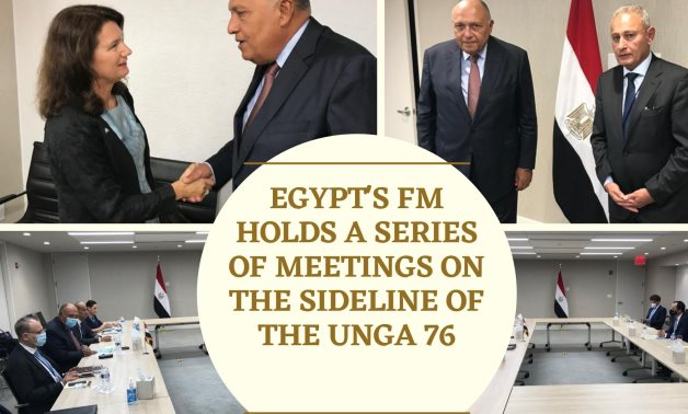 Egyptian Foreign Minister Sameh Shoukry holds a series of meetings on the sidelines of the UNGA 76- press photos collaged