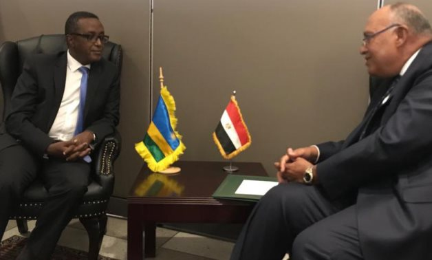 Egypt's FM Sameh Shoukry and his Rwandan counterpart Vincent Biruta on the sidelines of UNGA 76