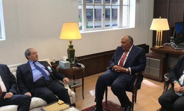 Egyptian Foreign Minister Sameh Shoukry met with his Syrian counterpart Faisal Miqdad, on the sidelines of the UNGA 76 meetings in New York City on September 24, 2021- press photo