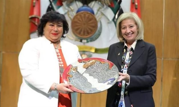 Egypt's Minister of Culture Inas Abdel Dayem [L] with Jordanian Minister of Culture Haifa Al-Najjar - Min. of Culture