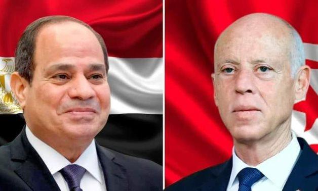 Egypt's President Abdel Fattah El-Sisi (L) and his Tunisian counterpart, President Kais Saied – Egyptian Presidency