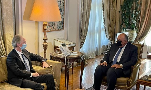Egyptian Foreign Minister Sameh Shoukry meets with United Nations Special Envoyfor Syria Geir O. Pedersen in Cairo- press photo