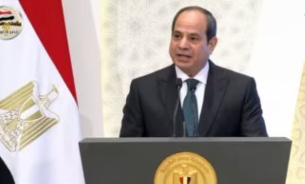 President Abdel Fatah al-Sisi delivering a speech at a ceremony held to celebrate the anniversary of the birth of Prophet Mohamed known as Mawled Nabawi – October 17, 2021. TV screenshot